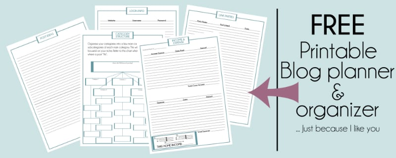 blog organization free printable