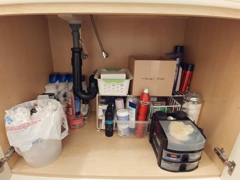 bathroom cupboard storage under sink ideas