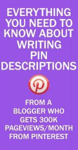 PINTEREST PIN DESCRIPTIONS TIPS FOR BLOGGERS