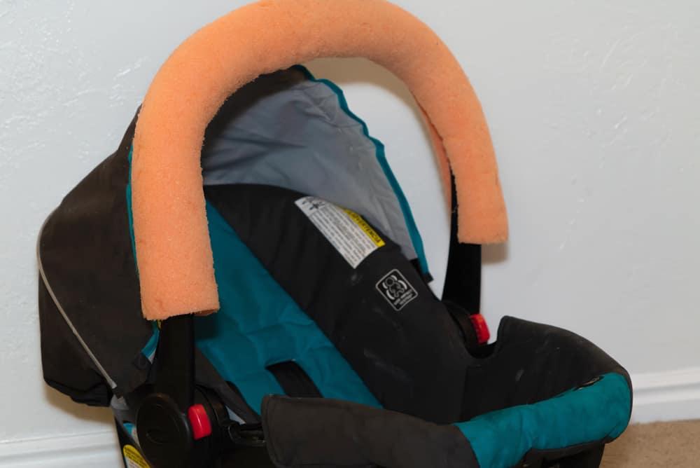 Postartum hacks - padded car seat handle