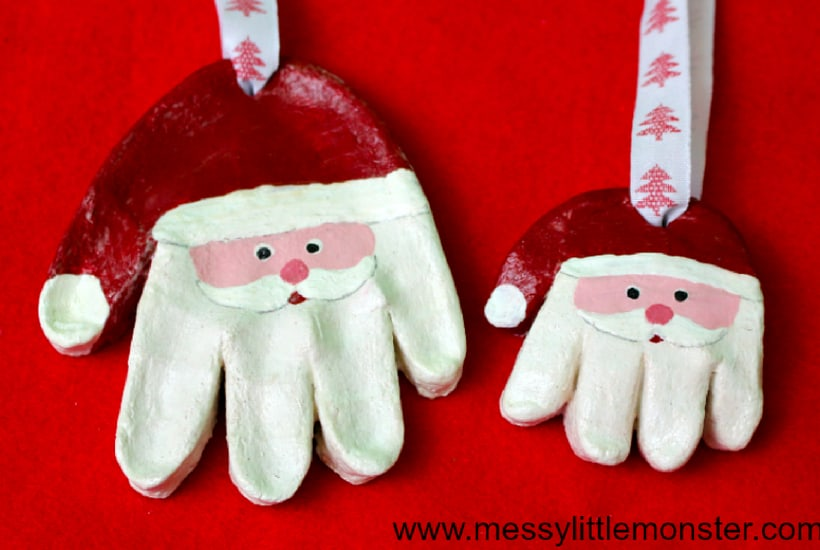 DIY Christmas Ornaments to Make With Toddlers santa hands