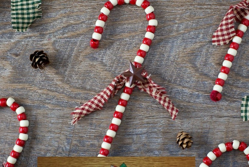 candy cane DIY Christmas Ornaments to Make With Toddlers