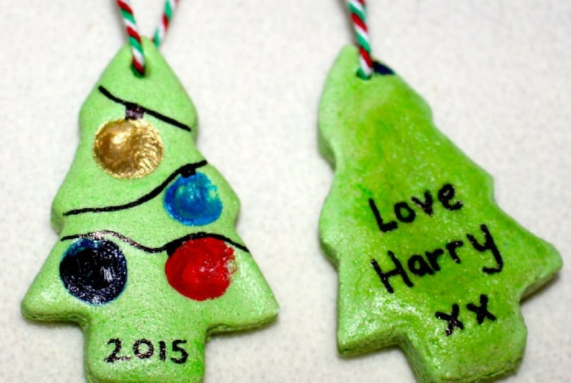 dough tree DIY Christmas Ornaments to Make With Toddlers