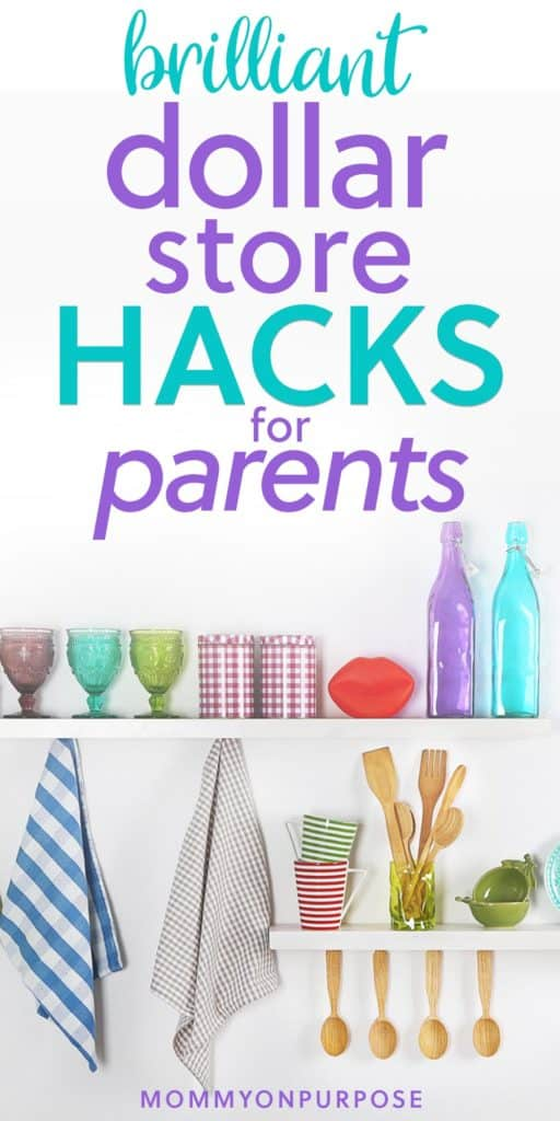 These dollar store hacks for parents are quick and simple ideas that'll help make your life simpler. From organization to different toys and activities - there's something here that'll be helpful for ALL moms and dads! #mommyonpurpose #dollarstore #hacks #momhacks #parentinghacks #dollarstorehacks #organizationhacks #toyhacks #kidhacks