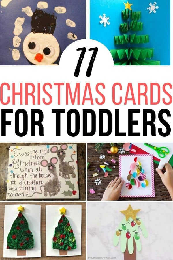 These homemade Christmas card ideas for toddlers are adorable. Not only are they simple and easy, but they're perfect for holiday fun and Christmas activities as well. #christmascardsfortoddlers #holidaycards #homemadeChristmascards
