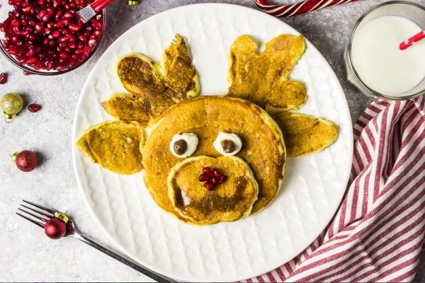 christmas breakfast reindeer pancake