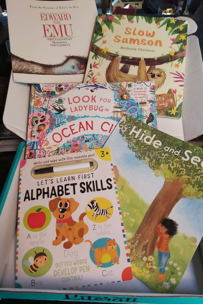 box of books as a gift for preschoolers who have too many toys